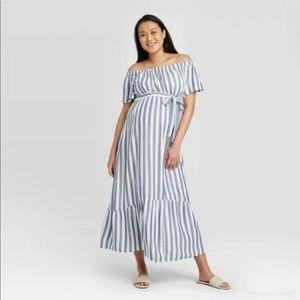 Isabel Maternity Striped Woven Off Shoulder Dress